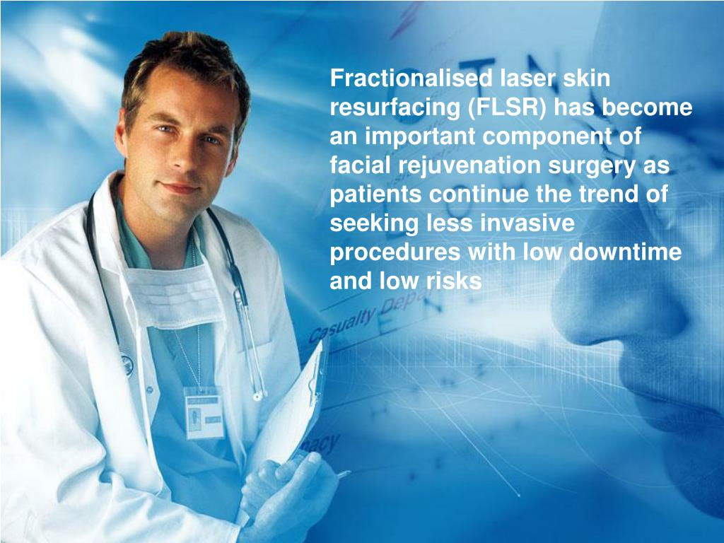 Fractionalised laser skin resurfacing (FLSR) has become an important component of facial rejuvenation surgery as patients continue the trend of seeking less invasive procedures with low downtime and low risks