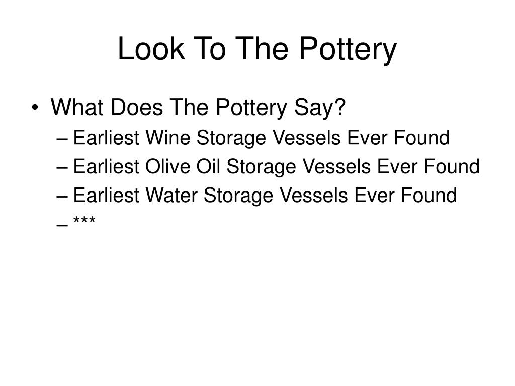 Look To The Pottery