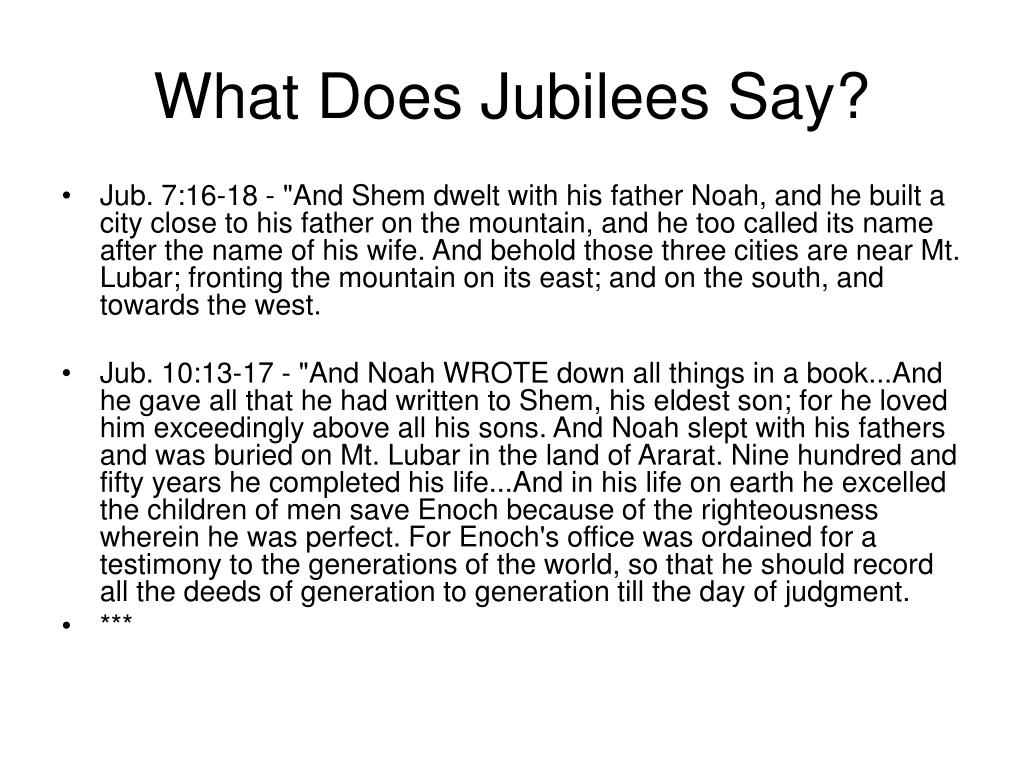 What Does Jubilees Say?