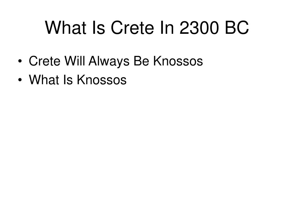What Is Crete In 2300 BC
