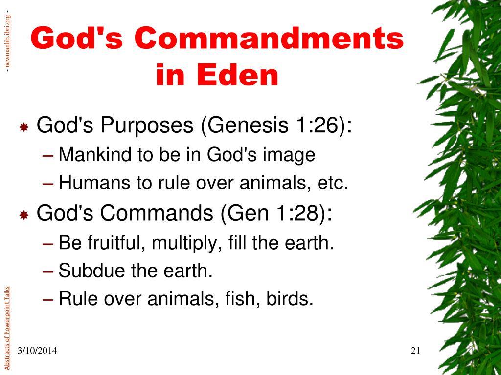 God's Commandments in Eden