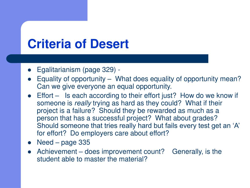 Criteria of Desert