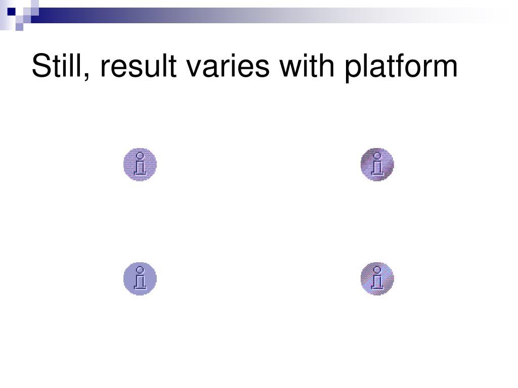 Still, result varies with platform