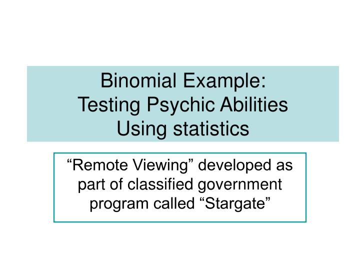binomial example testing psychic abilities using statistics
