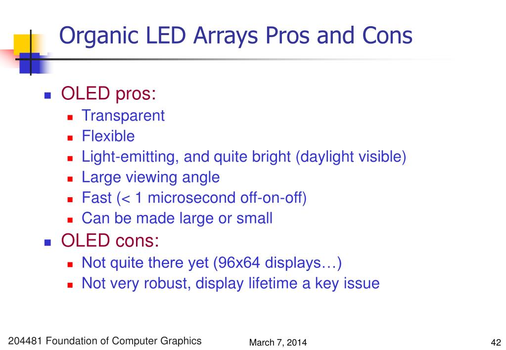 Organic LED Arrays Pros and Cons