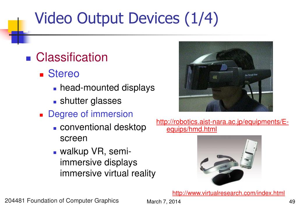 Video Output Devices (1/4)