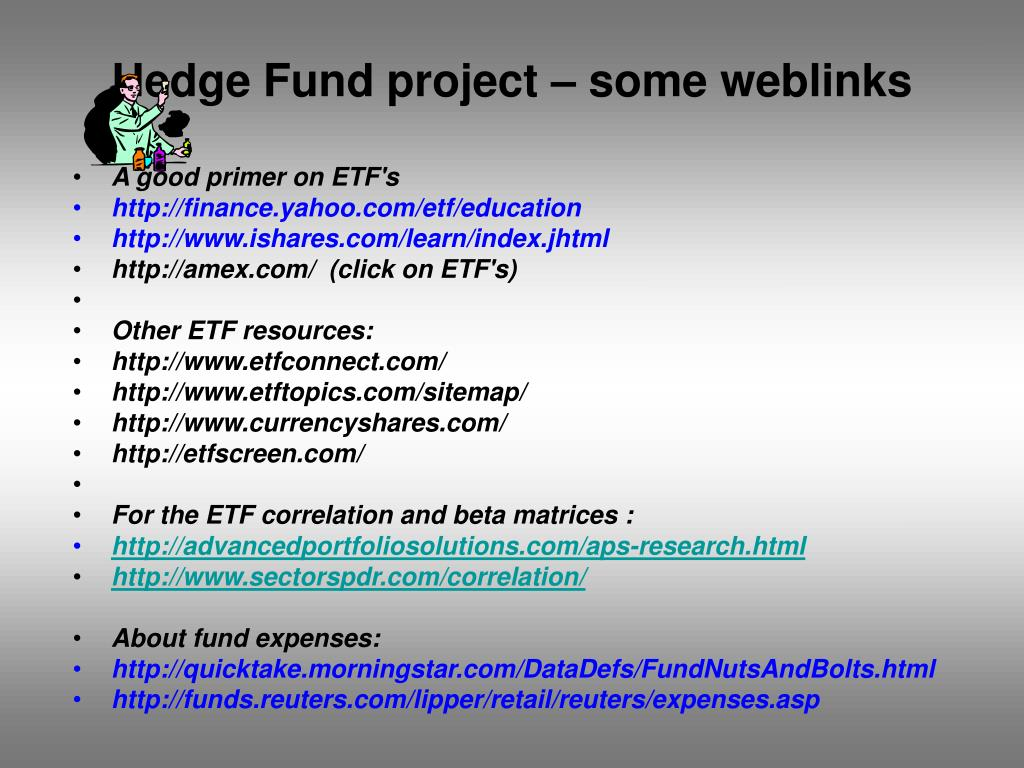 Hedge Fund project – some weblinks