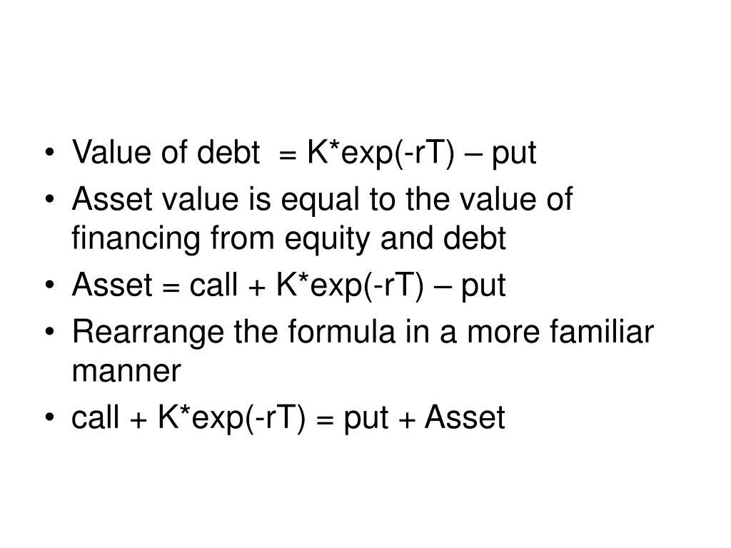 Value of debt  = K*exp(-rT) – put