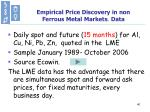 empirical price discovery in non ferrous metal markets data
