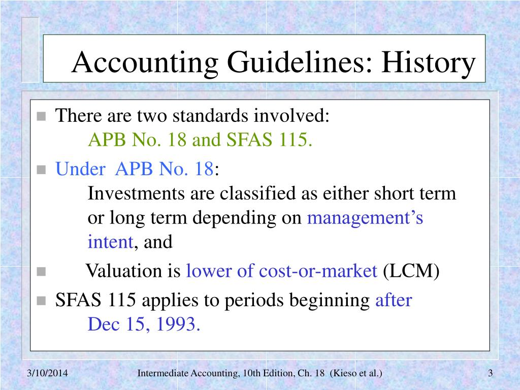 Accounting Guidelines: History
