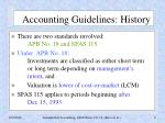accounting guidelines history