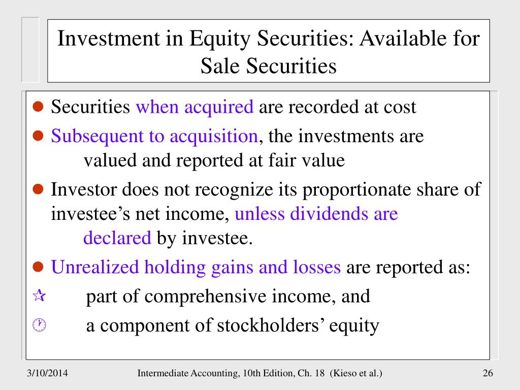 Investment in Equity Securities: Available for Sale Securities