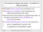 investment in equity securities available for sale securities