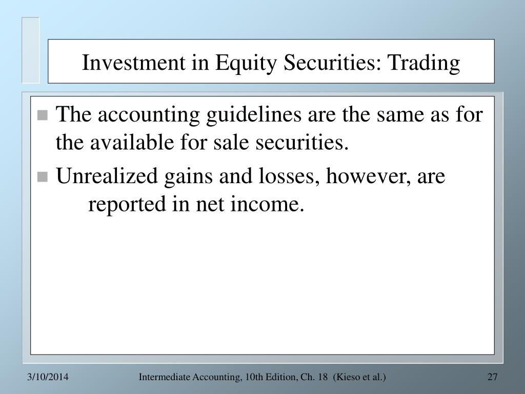 Investment in Equity Securities: Trading