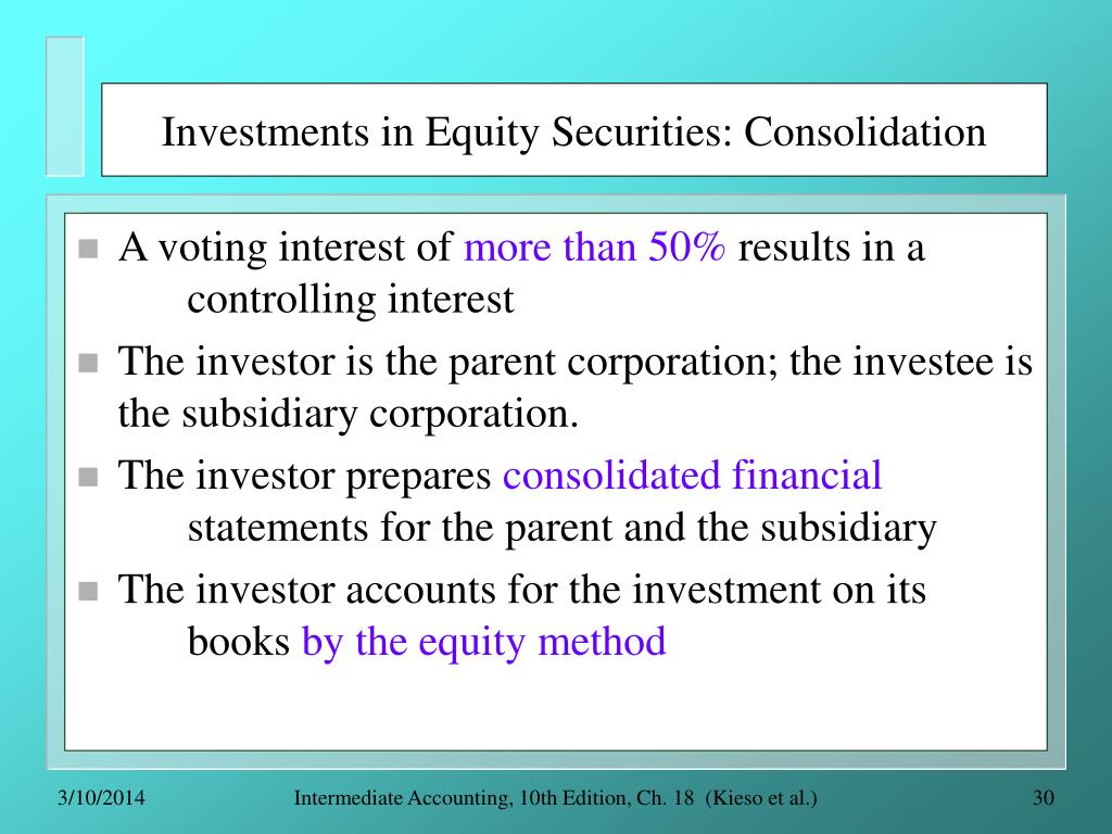 Investments in Equity Securities: Consolidation