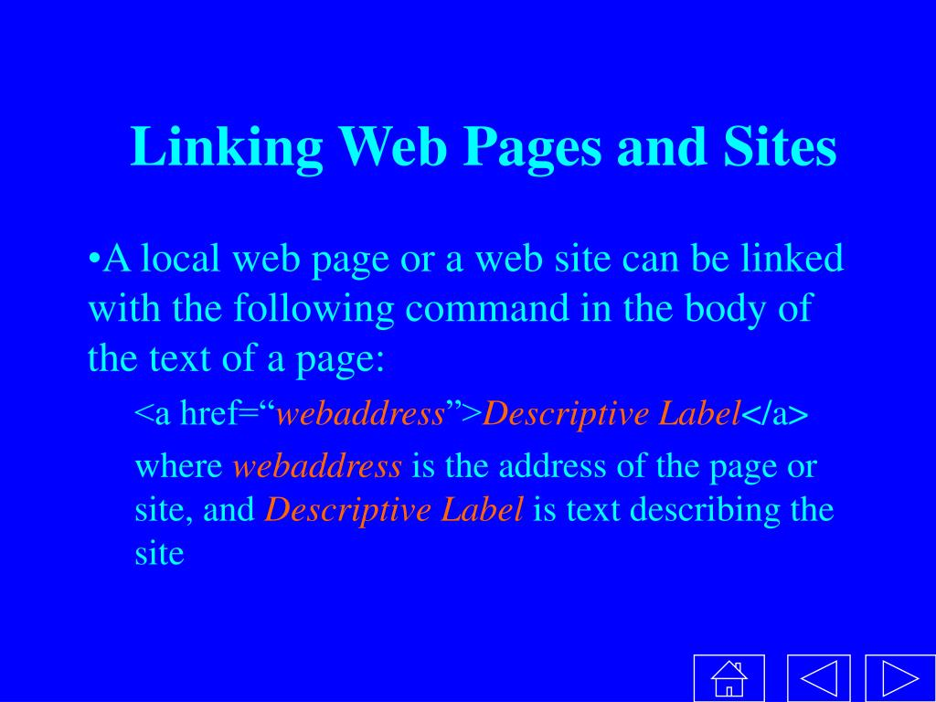 Linking Web Pages and Sites