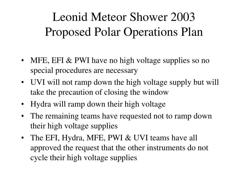 Leonid Meteor Shower 2003