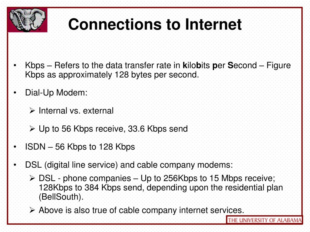 Connections to Internet