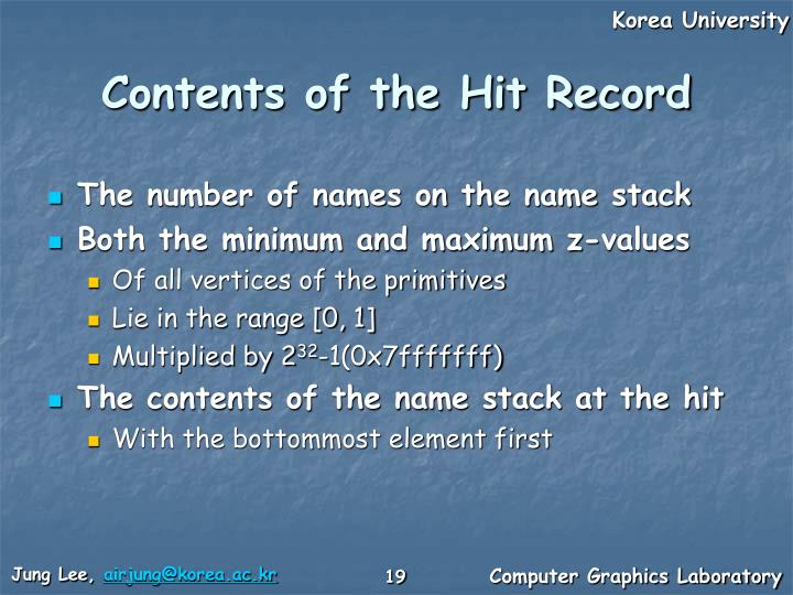 Contents of the Hit Record