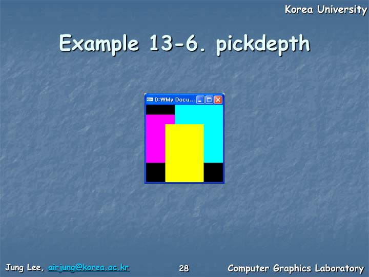 Example 13-6. pickdepth