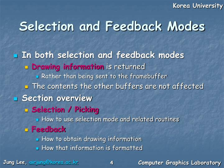 Selection and Feedback Modes
