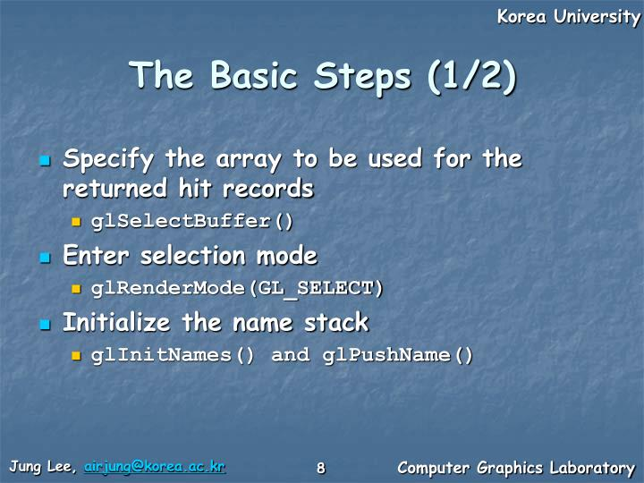 The Basic Steps (1/2)