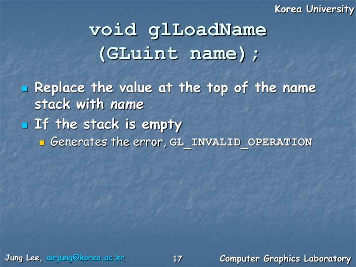 void glLoadName