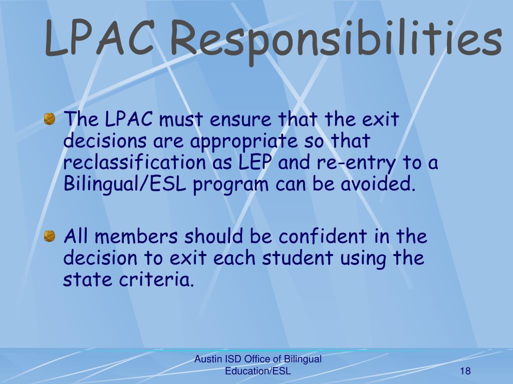 LPAC Responsibilities