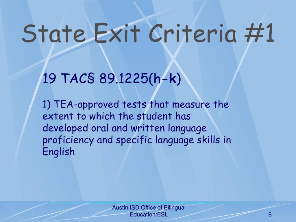 State Exit Criteria #1