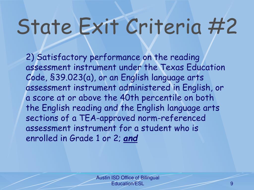 State Exit Criteria #2