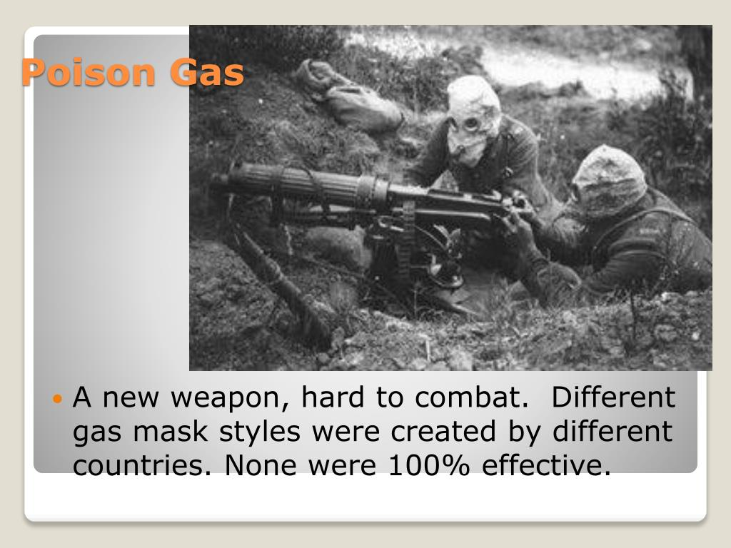 A new weapon, hard to combat.  Different gas mask styles were created by different countries. None were 100% effective.
