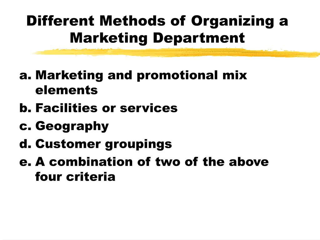 Different Methods of Organizing a Marketing Department