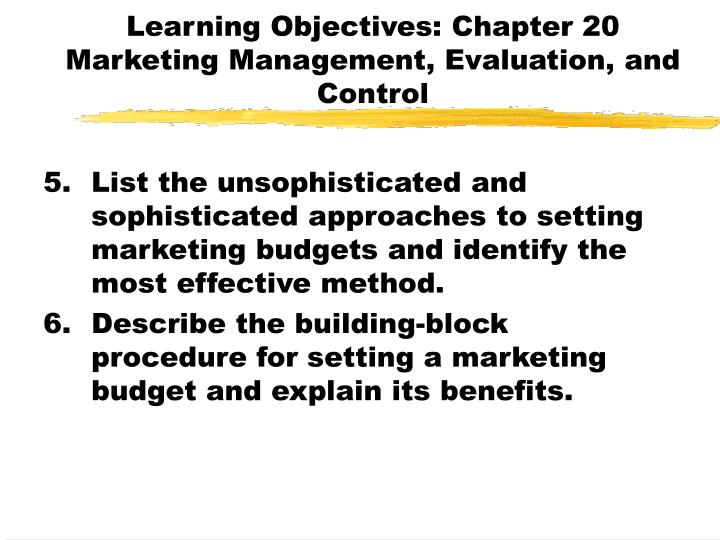 Learning objectives chapter 20 marketing management evaluation and control2