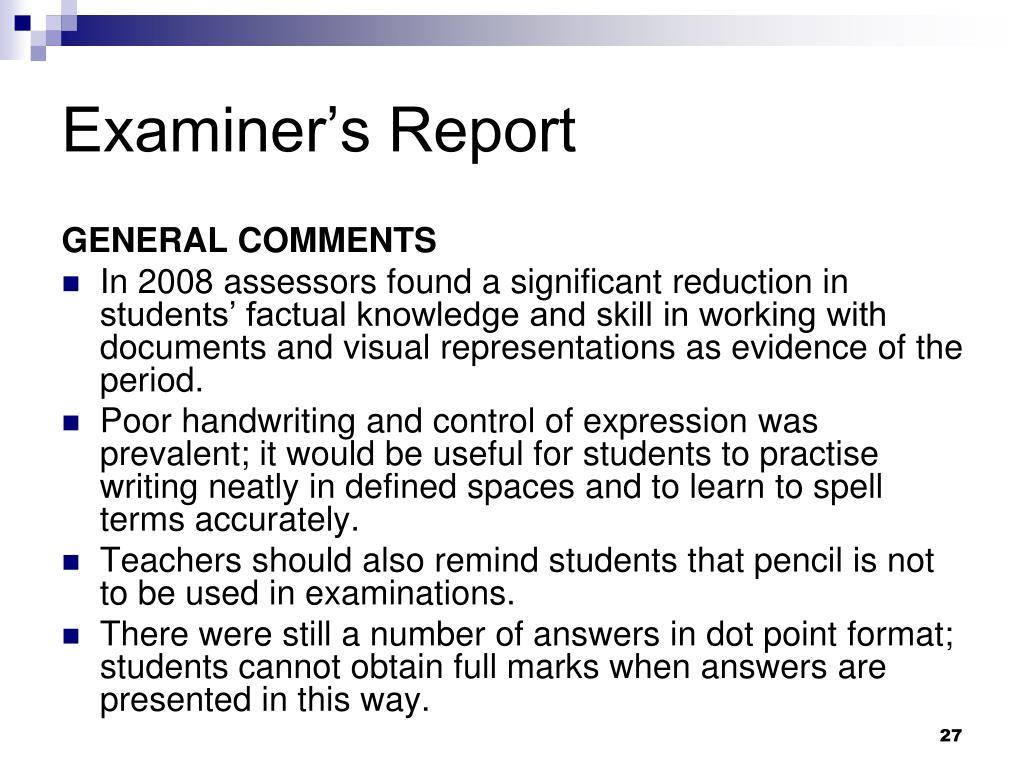Examiner's Report