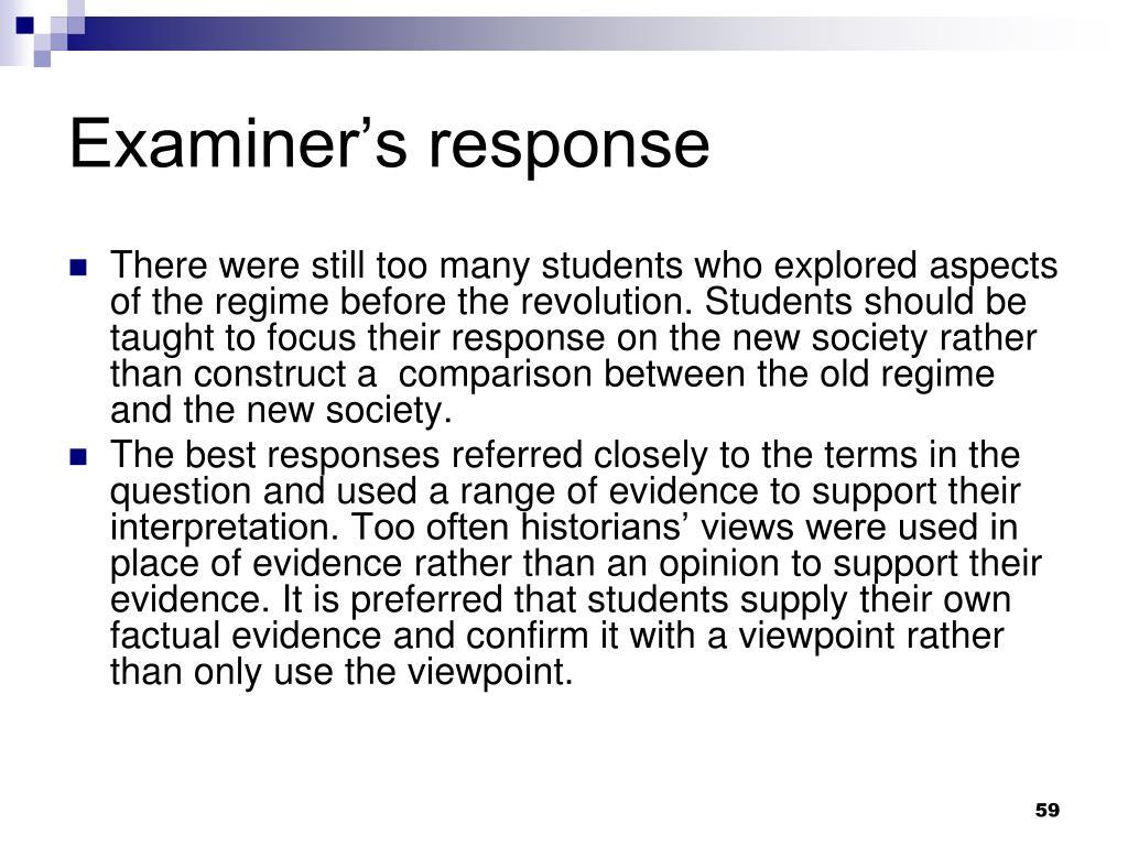 Examiner's response