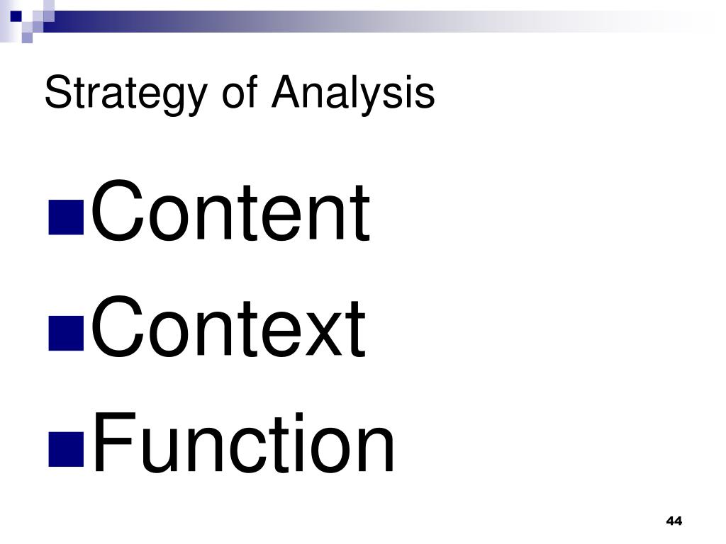 Strategy of Analysis