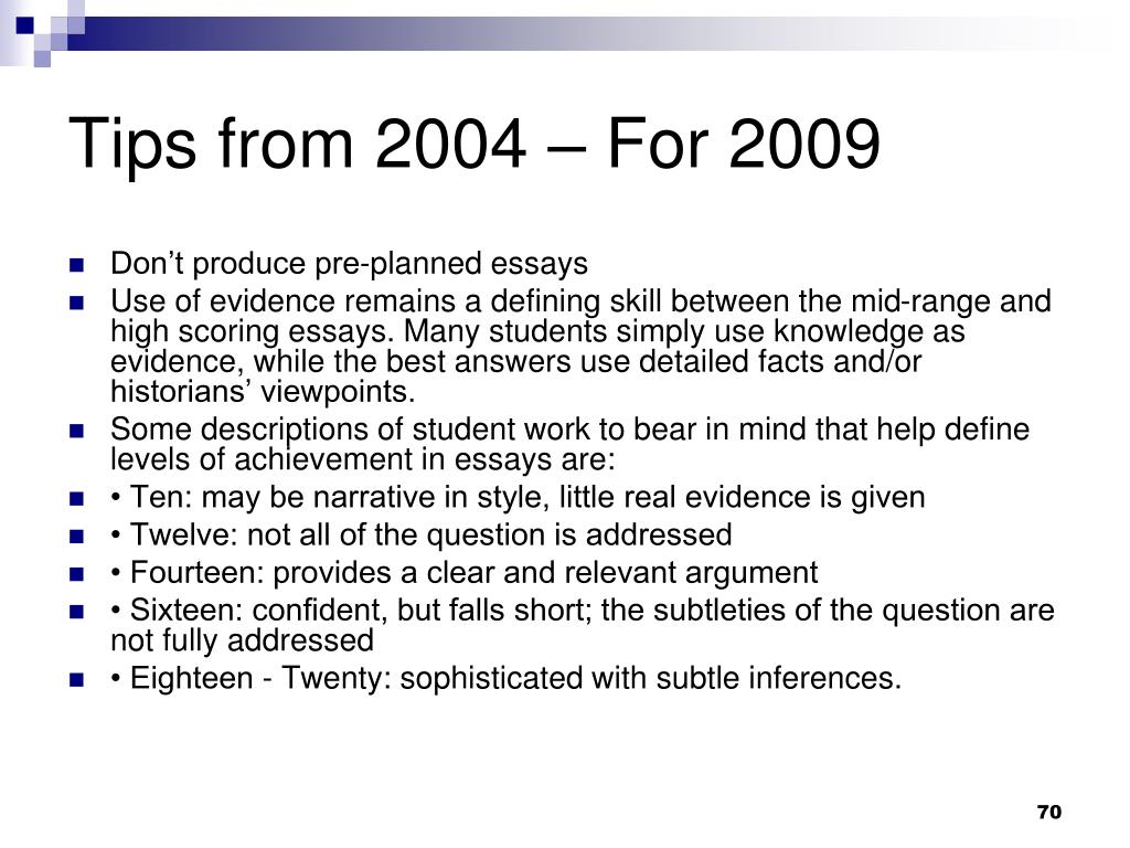 Tips from 2004 – For 2009