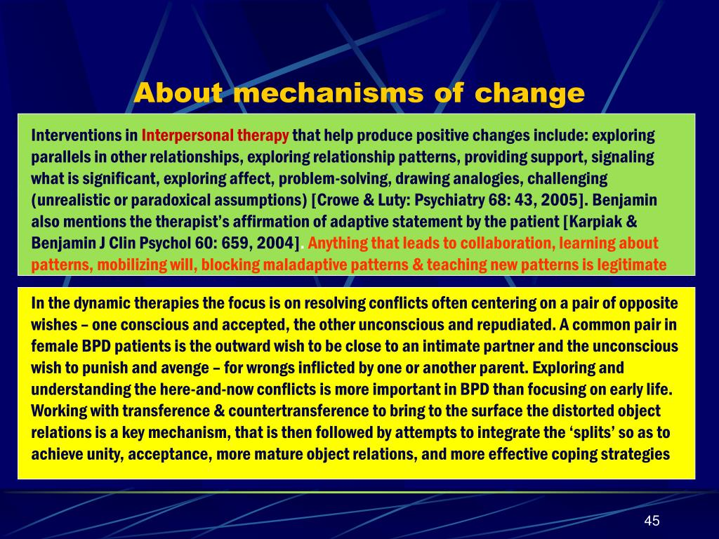 About mechanisms of change