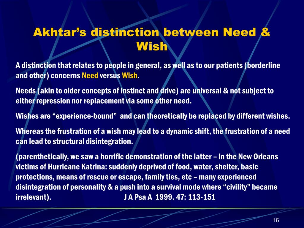 Akhtar's distinction between Need & Wish