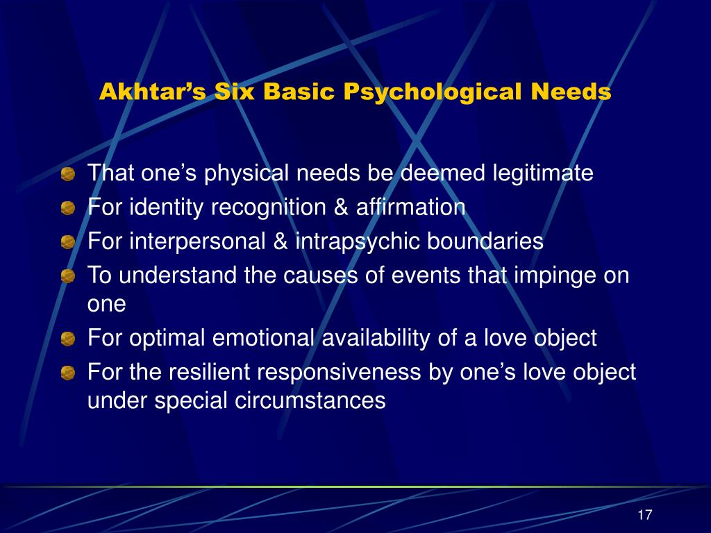 Akhtar's Six Basic Psychological Needs