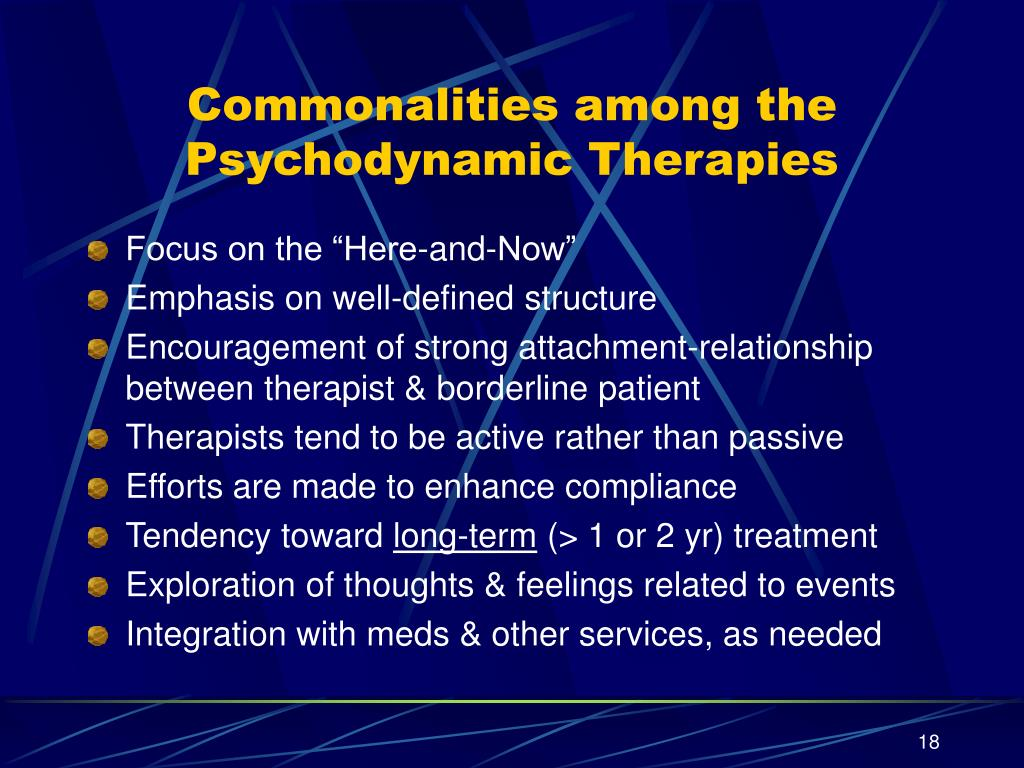 Commonalities among the Psychodynamic Therapies
