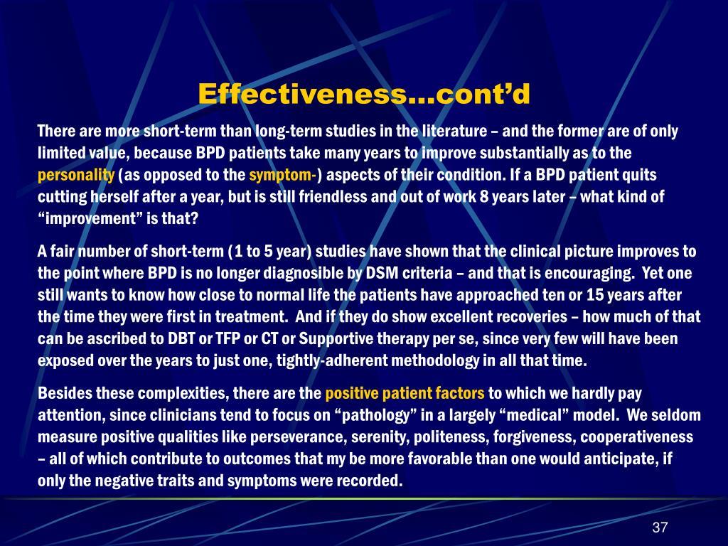 Effectiveness…cont'd