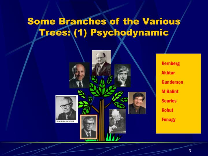 Some branches of the various trees 1 psychodynamic