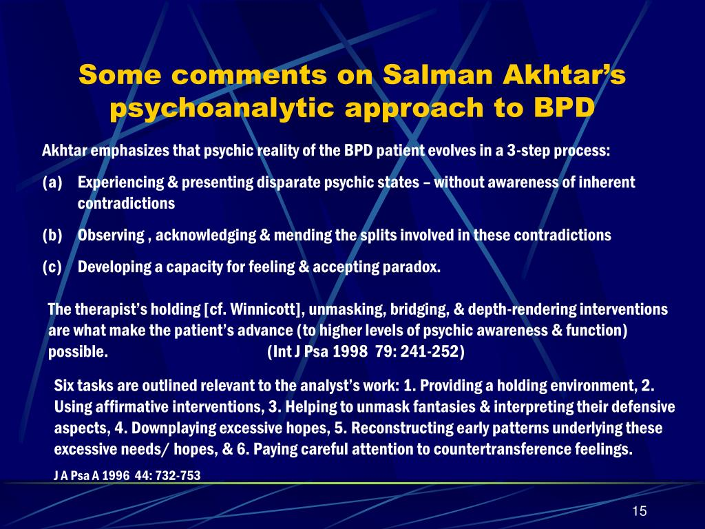Some comments on Salman Akhtar's psychoanalytic approach to BPD