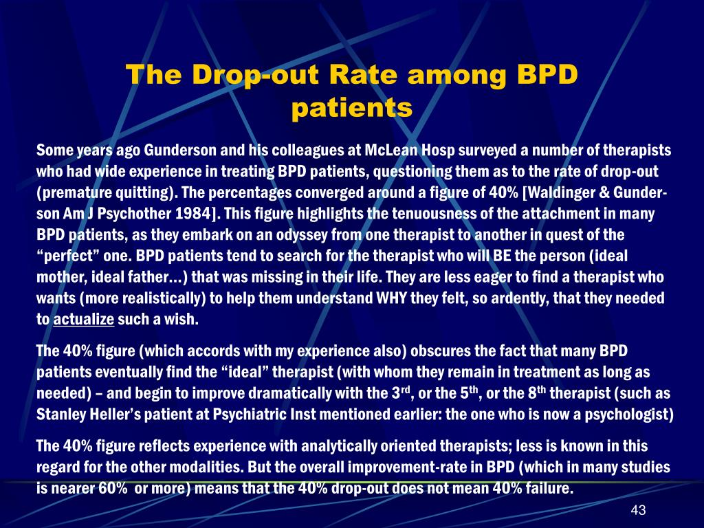 The Drop-out Rate among BPD patients