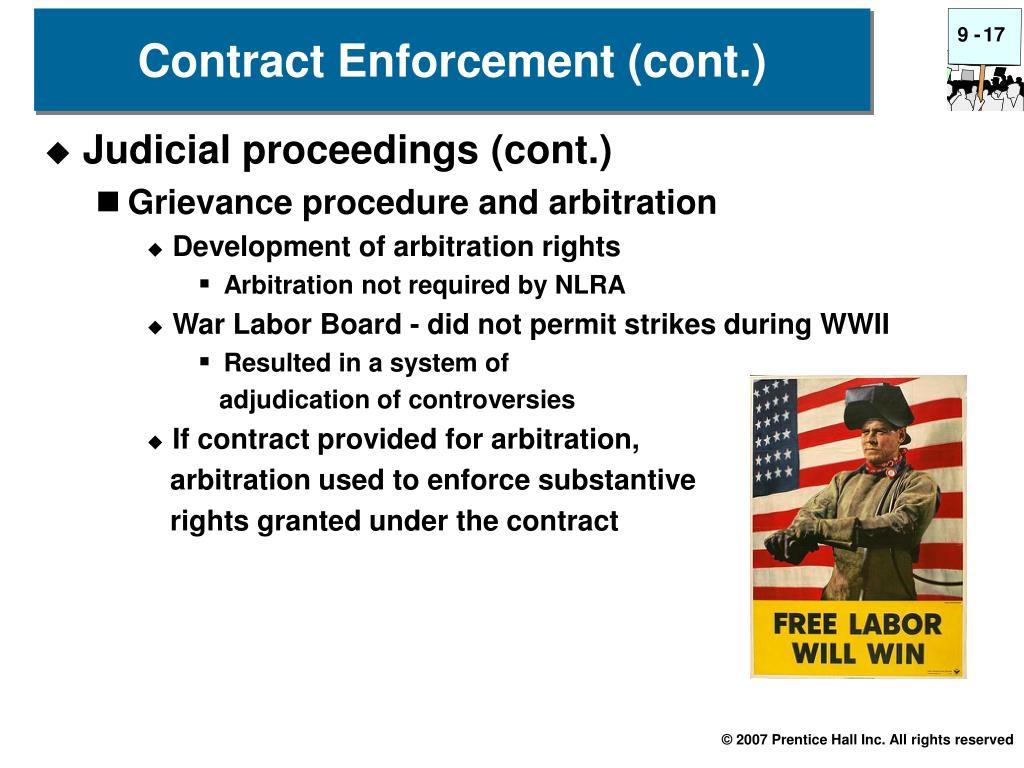 Contract Enforcement (cont.)