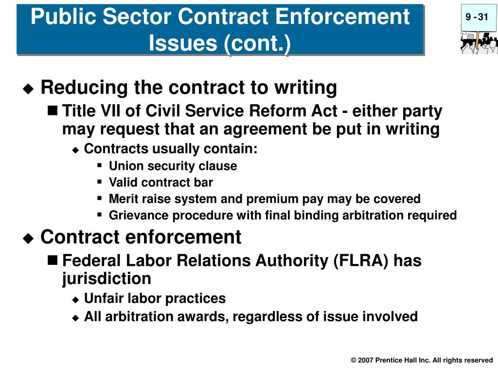 Public Sector Contract Enforcement Issues (cont.)