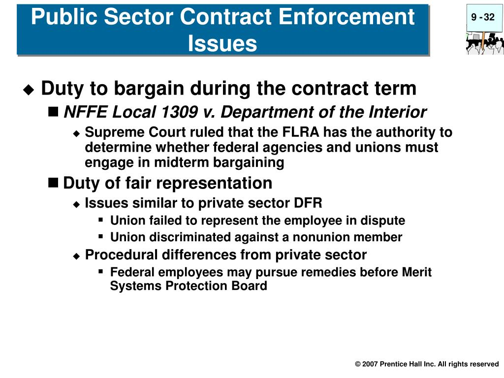Public Sector Contract Enforcement Issues