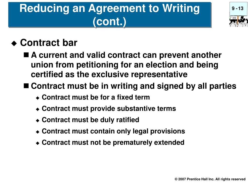 Reducing an Agreement to Writing (cont.)