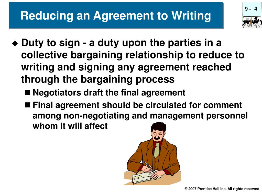 Reducing an Agreement to Writing